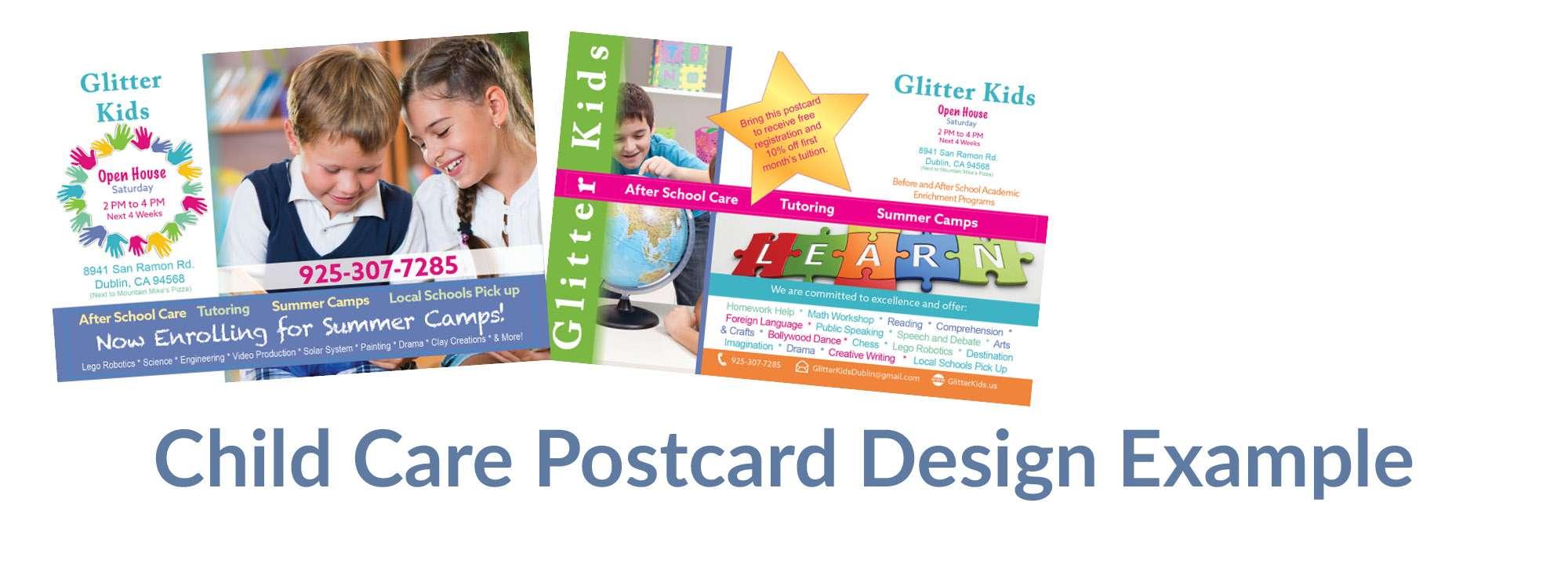 Child Care Postcard Design Example